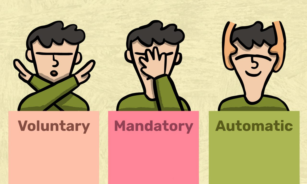 Voluntary, Mandatory, Automatic.